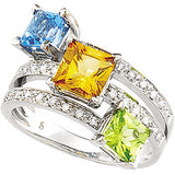 Pretty Multi Colored Quartz Genuine Gemstone Ring at BitCoin Gems