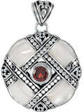 Brilliant Genuine Multi Gemstone Garnet & Mother of Pearl Pendant for SALE at BitCoin Gems