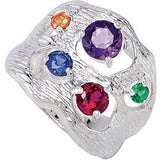 Desirable Multi Genuine Gemstone Ring at BitCoin Gems