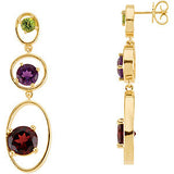 Royal Genuine Multi Gemstone Peridot, Garnet & Amethyst Earrings at BitCoin Gems
