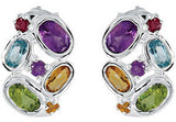 Ravishing Genuine Multi Gemstone Peridot, Citrine, Amethyst, Topaz & Garnet Earrings at BitCoin Gems