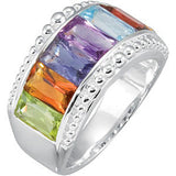 Chic Multi Colored Quartz Genuine Gemstone Ring at BitCoin Gems