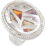 Fine Multi Colored Quartz Genuine Gemstone Ring at BitCoin Gems