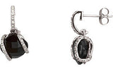 Radiant Genuine Gemstone Onyx Earrings at BitCoin Gems