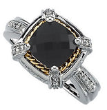 Elegant Onyx Genuine Gemstone Ring at BitCoin Gems