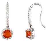 On Trend Genuine Gemstone Fire Opal Earrings at BitCoin Gems