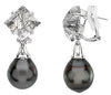 Ornate Genuine Gemstone Pearl Earrings at BitCoin Gems