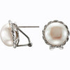 Elegant Genuine Gemstone Pearl Earrings at BitCoin Gems
