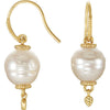 Radiant Genuine Gemstone Pearl Earrings at BitCoin Gems