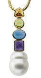 Royal Genuine Multi Gemstone Pearl Pendant  With Amethyst, Topaz, Peridot & Citrine for SALE at BitCoin Gems