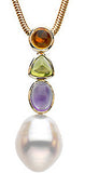 Radiant Genuine Multi Gemstone Pearl Pendant With Amethyst, Peridot & Citrine for SALE at BitCoin Gems