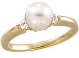 Fine Pearl Genuine Gemstone Ring at BitCoin Gems
