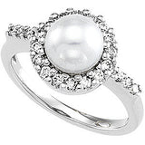 Exquisite Pearl Genuine Gemstone Ring at BitCoin Gems