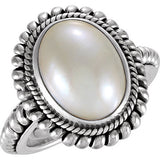Lovely Pearl Genuine Gemstone Ring at BitCoin Gems