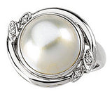 Trendy Pearl Genuine Gemstone Ring at BitCoin Gems