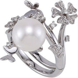 Elegant Pearl Genuine Gemstone Ring at BitCoin Gems