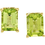 Radiant Genuine Gemstone Peridot Earrings at BitCoin Gems