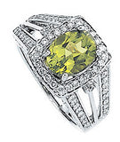 Stately Peridot Genuine Gemstone Ring at BitCoin Gems