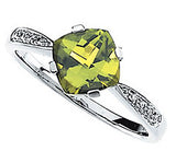 Classy Peridot Genuine Gemstone Ring at BitCoin Gems