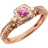 Timeless Pink Sapphire Genuine Gemstone Ring at BitCoin Gems