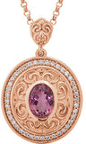 Sophisticated Genuine Gemstone Pink Tourmaline Pendant for SALE at BitCoin Gems