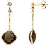 Astonishing Genuine Gemstone Smoky Quartz Earrings at BitCoin Gems