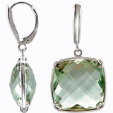 Beautiful Genuine Gemstone Green Quartz Earrings at BitCoin Gems