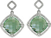 Radiant Genuine Gemstone Green Quartz Earrings at BitCoin Gems