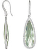 Alluring Genuine Gemstone Green Quartz Earrings at BitCoin Gems