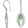 Amazing Genuine Gemstone Green Quartz Earrings at BitCoin Gems