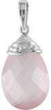 Elegant Genuine Gemstone Rose Quartz Pendant for SALE at BitCoin Gems