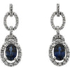 Majestic Genuine Gemstone Blue Sapphire Earrings at BitCoin Gems