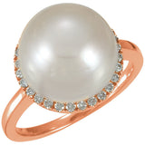Exquisite South Sea Pearl Genuine Gemstone Ring at BitCoin Gems