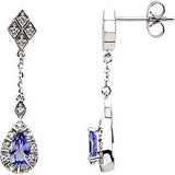 Majestic Genuine Gemstone Tanzanite Earrings at BitCoin Gems