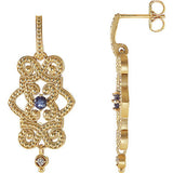 Stunning Genuine Gemstone Tanzanite Earrings at BitCoin Gems