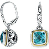 Lovely Genuine Gemstone Swiss Blue Topaz Earrings at BitCoin Gems