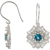 Intricate Genuine Gemstone London Blue Topaz Earrings at BitCoin Gems