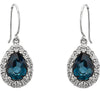 Delicate Genuine Gemstone London Blue Topaz Earrings at BitCoin Gems