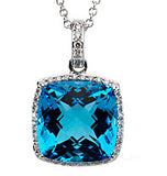 Sparkling Genuine Gemstone Swiss Blue Topaz Pendant for SALE at BitCoin Gems