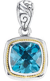 Magnificent Genuine Gemstone Swiss Blue Topaz Pendant for SALE at BitCoin Gems