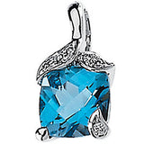 Stylish Genuine Gemstone Swiss Blue Topaz Pendant for SALE at BitCoin Gems