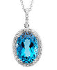 Dazzling Genuine Gemstone Swiss Blue Topaz Pendant for SALE at BitCoin Gems