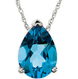 Appealing Genuine Gemstone Swiss Blue Topaz Pendant for SALE at BitCoin Gems