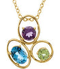 Exquisite Genuine Multi Gemstone Pendant With Amethyst, Peridot & Topaz for SALE at BitCoin Gems