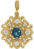 Exquisite Genuine Gemstone London Blue Topaz Pendant for SALE at BitCoin Gems