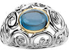 Magnificent Blue Topaz Genuine Gemstone Ring at BitCoin Gems