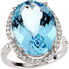 Exquisite Blue Topaz Genuine Gemstone Ring at BitCoin Gems
