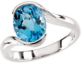 Attractive Blue Topaz Genuine Gemstone Ring at BitCoin Gems