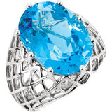 Awesome Swiss Blue Topaz Genuine Gemstone Ring at BitCoin Gems