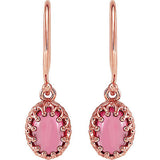 Pretty Genuine Gemstone Pink Tourmaline Earrings at BitCoin Gems